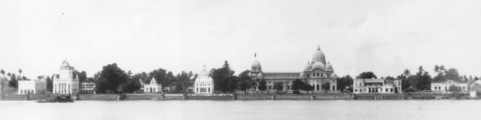 black and white photograph of Belur Math Campus skyline