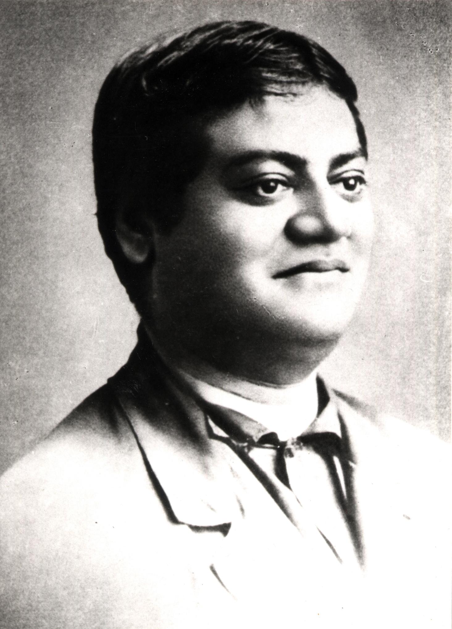 Black and white photo portrait of Swami Vivekananda.